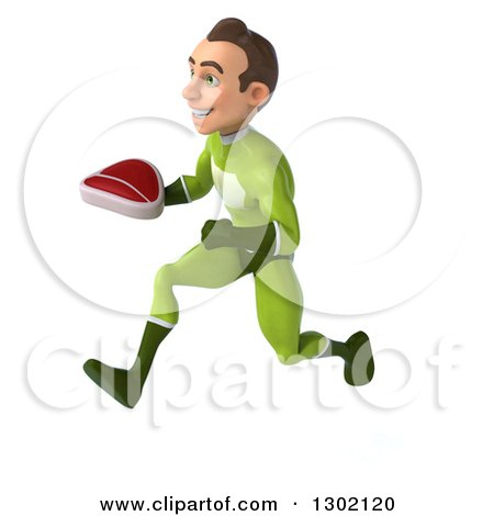 Clipart of a 3d Young Brunette White Male Super Hero in a Green Suit, Sprinting to the Left with a Beef Steak - Royalty Free Illustration by Julos