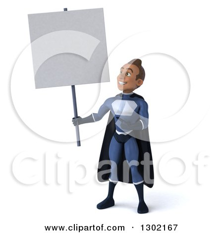 Clipart of a 3d Young Indian Male Super Hero Dark Blue Suit, Holding up and Pointing to a Blank Sign - Royalty Free Illustration by Julos