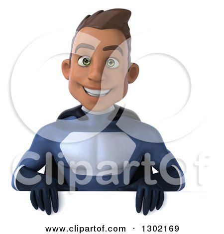 Clipart of a 3d Young Indian Male Super Hero Dark Blue Suit, Smiling over a Sign - Royalty Free Illustration by Julos