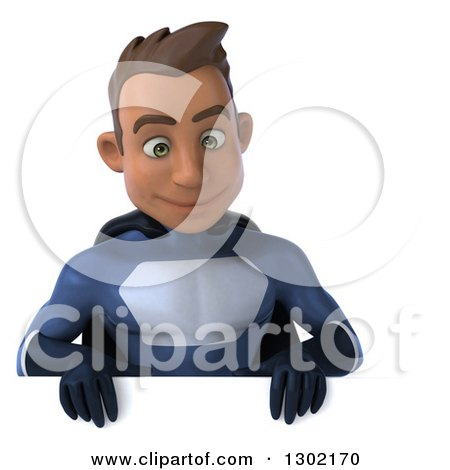 Clipart of a 3d Young Indian Male Super Hero Dark Blue Suit, Smiling down over a Sign - Royalty Free Illustration by Julos