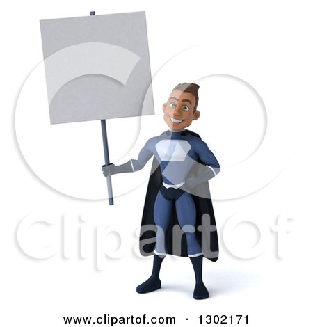 Clipart of a 3d Young Indian Male Super Hero Dark Blue Suit, Holding up a Blank Sign - Royalty Free Illustration by Julos