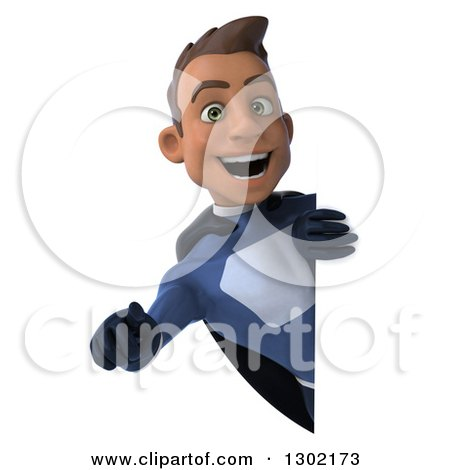 Clipart of a 3d Young Indian Male Super Hero Dark Blue Suit, Pointing Outwards Around a Sign - Royalty Free Illustration by Julos