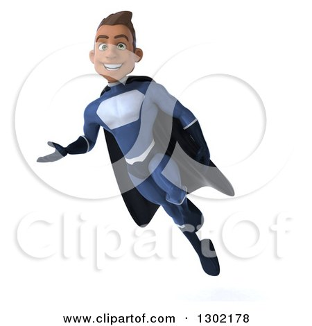 Clipart of a 3d Young Indian Male Super Hero Dark Blue Suit, Flying and Presenting to the Left - Royalty Free Illustration by Julos
