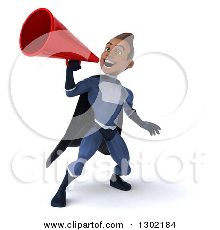 Clipart of a 3d Young Indian Male Super Hero Dark Blue Suit, Announcing with a Megaphone - Royalty Free Illustration by Julos