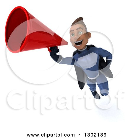 Clipart of a 3d Young Indian Male Super Hero Dark Blue Suit, Flying and Announcing with a Megaphone 2 - Royalty Free Illustration by Julos