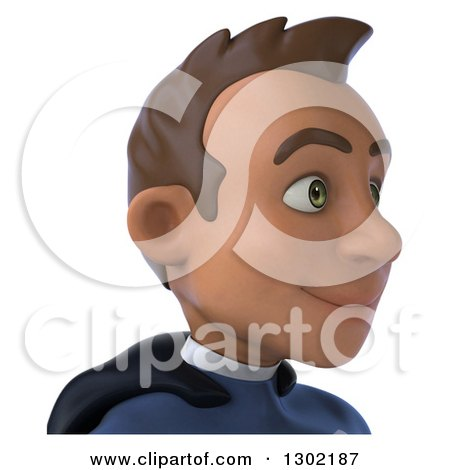 Clipart of a 3d Young Indian Male Super Hero Dark Blue Suit, from the Shoulders Up, Facing Right 2 - Royalty Free Illustration by Julos