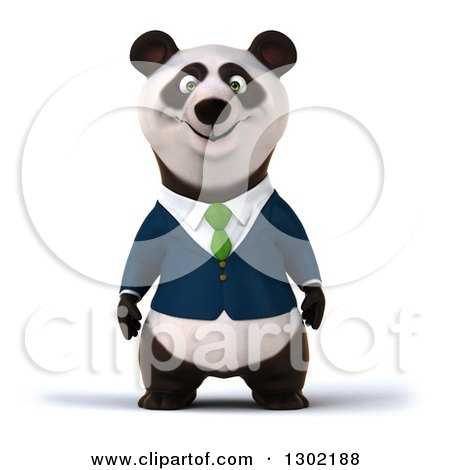 Clipart of a 3d Happy Business Panda - Royalty Free Vector Illustration by Julos