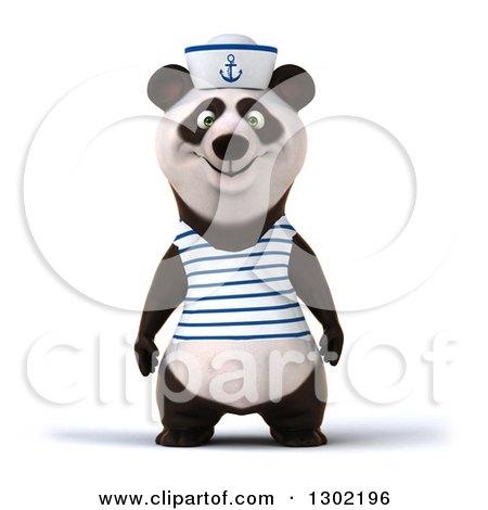Clipart of a 3d Happy Sailor Panda - Royalty Free Vector Illustration by Julos
