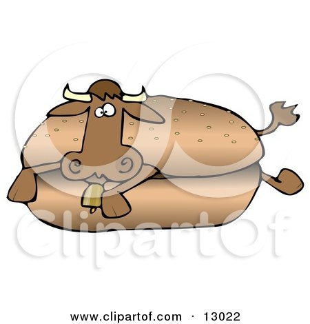Confused Cow Lying in a Hamburger Bun Clipart Illustration by djart