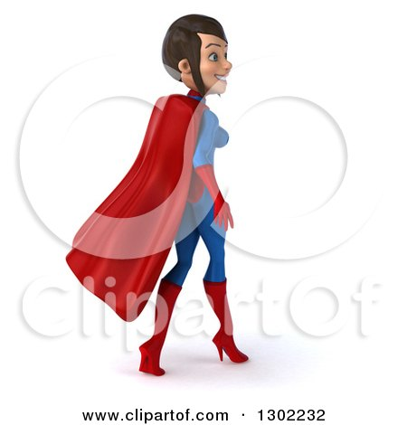 Clipart of a 3d Young Brunette White Female Super Hero in a Blue and Red Suit, Walking Away - Royalty Free Illustration by Julos