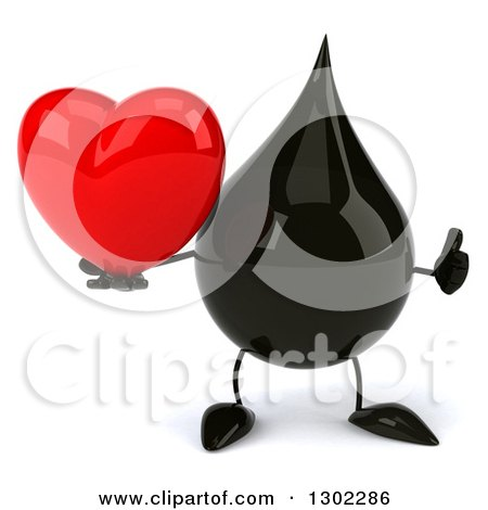 Clipart of a 3d Oil Drop Character Giving a Thumb up and Holding a Love Heart - Royalty Free Vector Illustration by Julos