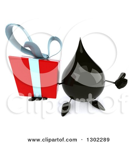 Clipart of a 3d Oil Drop Character Holding up a Thumb and a Gift - Royalty Free Vector Illustration by Julos
