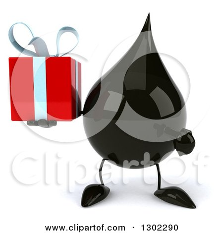Clipart of a 3d Oil Drop Character Holding and Pointing to a Gift - Royalty Free Vector Illustration by Julos