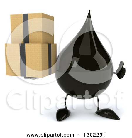 Clipart of a 3d Oil Drop Character Holding a Thumb up and Boxes - Royalty Free Vector Illustration by Julos