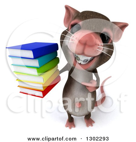 Clipart of a 3d Mouse with Braces, Holding up and Pointing to a Stack of Books - Royalty Free Vector Illustration by Julos