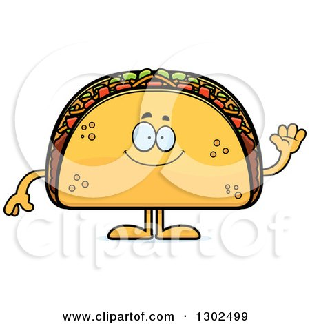 Clipart of a Cartoon Happy Friendly Taco Food Mascot Character Waving - Royalty Free Vector Illustration by Cory Thoman