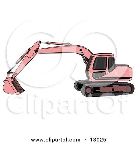 Pink Trackhoe Excavator Clipart Illustration by djart