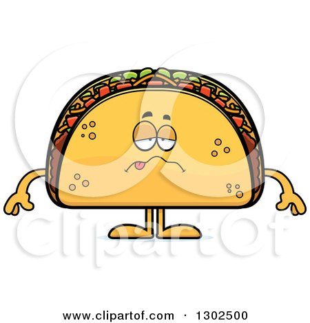 Clipart of a Cartoon Sick Taco Food Mascot Character - Royalty Free Vector Illustration by Cory Thoman