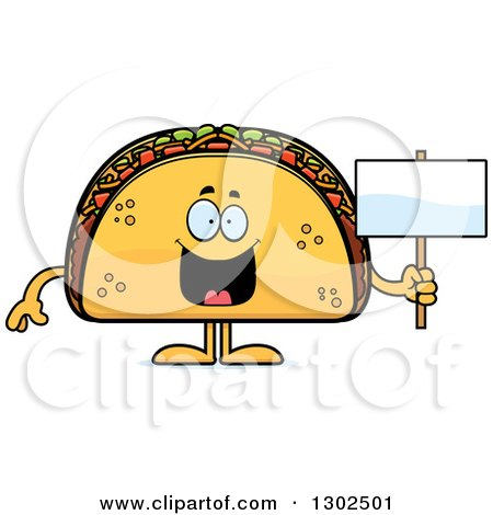 Clipart of a Cartoon Happy Taco Food Mascot Character Holding a Blank Sign - Royalty Free Vector Illustration by Cory Thoman