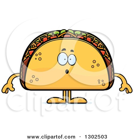 Clipart of a Cartoon Surprised Taco Food Mascot Character Gasping - Royalty Free Vector Illustration by Cory Thoman