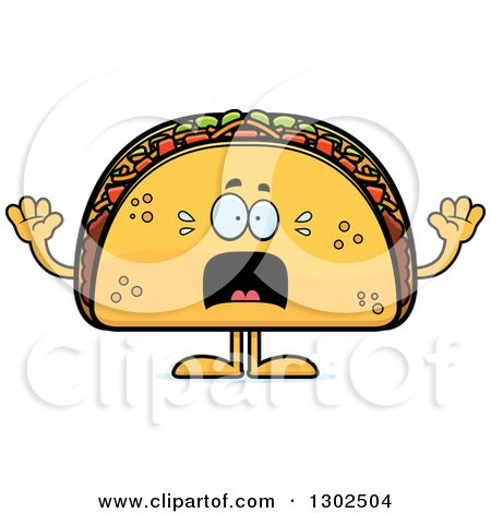 Clipart of a Cartoon Scared Taco Food Mascot Character Screaming - Royalty Free Vector Illustration by Cory Thoman