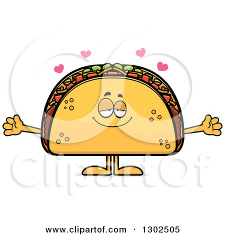 Clipart of a Cartoon Loving Taco Food Mascot Character with Open Arms and Hearts - Royalty Free Vector Illustration by Cory Thoman