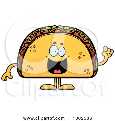 Clipart of a Cartoon Smart Taco Food Mascot Character with an Idea - Royalty Free Vector Illustration by Cory Thoman