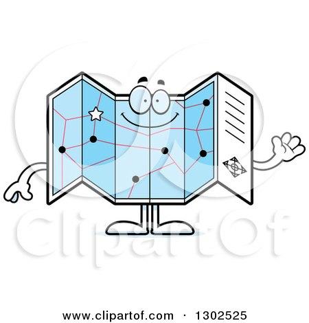 Clipart of a Cartoon Happy Friendly Road Map Atlas Character Waving - Royalty Free Vector Illustration by Cory Thoman