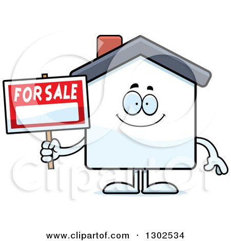 Clipart of a Cartoon Happy for Sale House Smiling - Royalty Free Vector Illustration by Cory Thoman