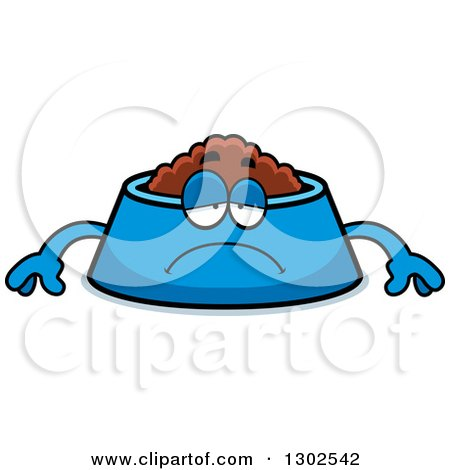 Clipart of a Cartoon Sad Depressed Pet Food Bowl Dish Character Pouting - Royalty Free Vector Illustration by Cory Thoman