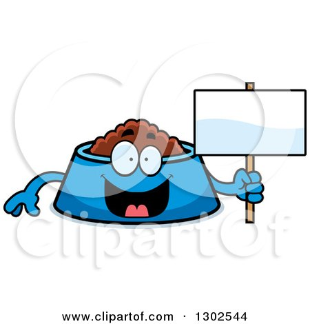 Clipart of a Cartoon Happy Pet Food Bowl Dish Character Holding a Blank Sign - Royalty Free Vector Illustration by Cory Thoman