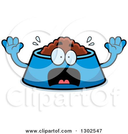 Clipart of a Cartoon Scared Pet Food Bowl Dish Character Screaming - Royalty Free Vector Illustration by Cory Thoman