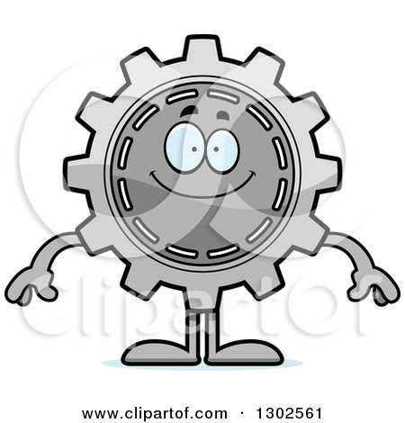Clipart of a Cartoon Happy Gear Cog Wheel Character Smiling - Royalty Free Vector Illustration by Cory Thoman