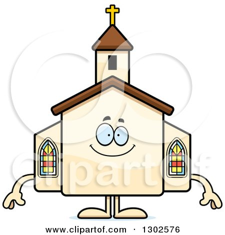 Clipart of a Cartoon Happy Church Building Character Smiling - Royalty Free Vector Illustration by Cory Thoman
