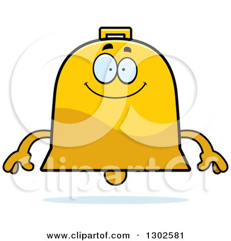 Clipart of a Cartoon Happy Bell Character Smiling - Royalty Free Vector Illustration by Cory Thoman