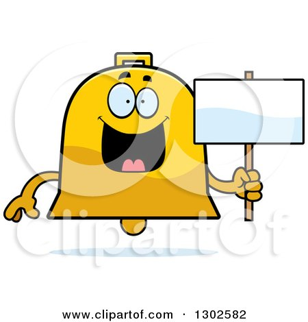 Clipart of a Cartoon Happy Bell Character Holding a Blank Sign - Royalty Free Vector Illustration by Cory Thoman