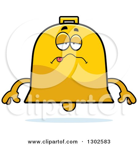 Clipart of a Cartoon Sick or Drunk Bell Character - Royalty Free Vector Illustration by Cory Thoman