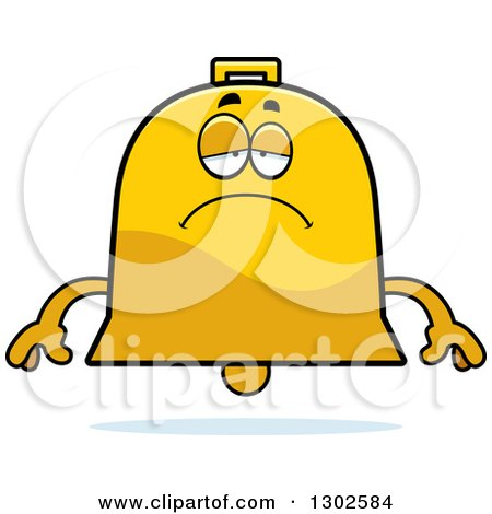 Clipart of a Cartoon Sad Depressed Bell Character Pouting - Royalty Free Vector Illustration by Cory Thoman