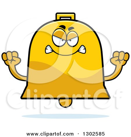 Clipart of a Cartoon Mad Bell Character Holding up Fists - Royalty Free Vector Illustration by Cory Thoman