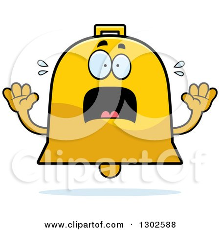 Clipart of a Cartoon Scared Bell Character Screaming - Royalty Free Vector Illustration by Cory Thoman
