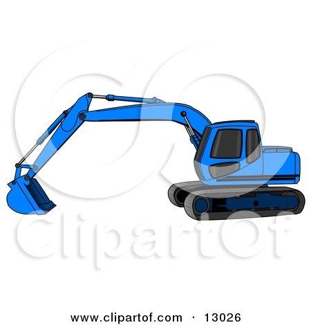 Blue Trackhoe Excavator Clipart Illustration by djart