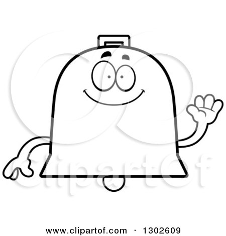 Lineart Clipart of a Cartoon Black and White Happy Friendly Bell Character Waving - Royalty Free Outline Vector Illustration by Cory Thoman