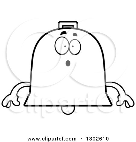 Lineart Clipart of a Cartoon Black and White Surprised Bell Character Gasping - Royalty Free Outline Vector Illustration by Cory Thoman