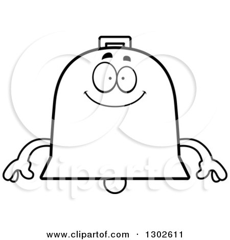 Lineart Clipart of a Cartoon Black and White Happy Bell Character Smiling - Royalty Free Outline Vector Illustration by Cory Thoman