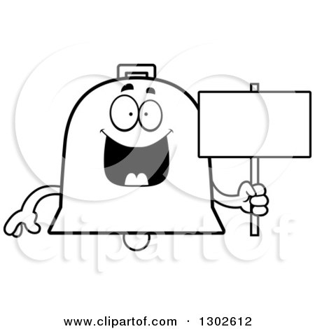 Lineart Clipart of a Cartoon Black and White Happy Bell Character Holding a Blank Sign - Royalty Free Outline Vector Illustration by Cory Thoman