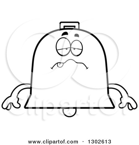Lineart Clipart of a Cartoon Black and White Sick or Drunk Bell Character - Royalty Free Outline Vector Illustration by Cory Thoman