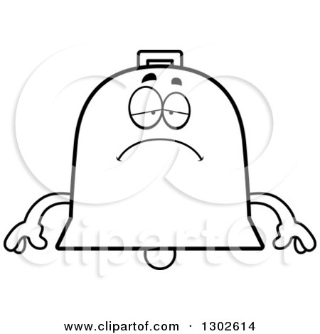 Lineart Clipart of a Cartoon Black and White Sad Depressed Bell Character Pouting - Royalty Free Outline Vector Illustration by Cory Thoman