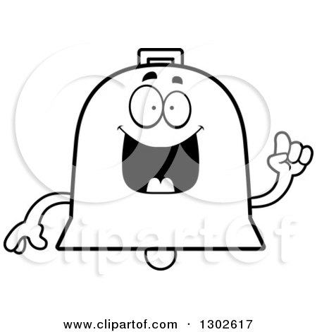 Lineart Clipart of a Cartoon Black and White Happy Smart Bell Character with an Idea - Royalty Free Outline Vector Illustration by Cory Thoman