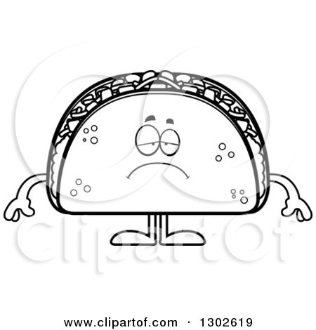 Lineart Clipart of a Cartoon Black and White Sad Depressed Taco Food Mascot Character Pouting - Royalty Free Outline Vector Illustration by Cory Thoman