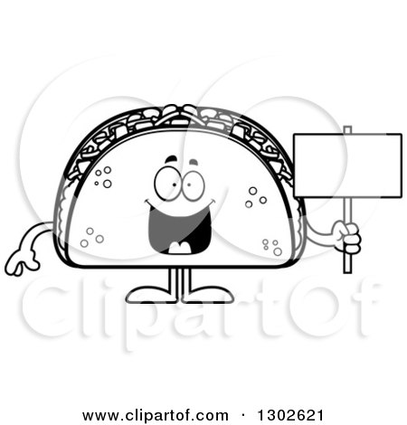 Lineart Clipart of a Cartoon Black and White Happy Taco Food Mascot Character Holding a Blank Sign - Royalty Free Outline Vector Illustration by Cory Thoman